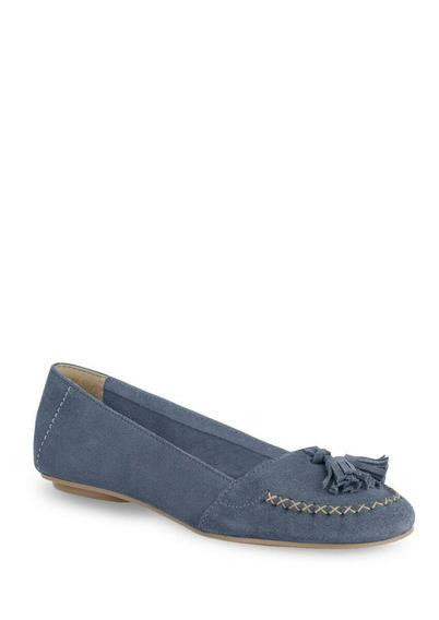 Flat Loafer De Piel Color Azul Alt. 1cm Mod. 256-7587