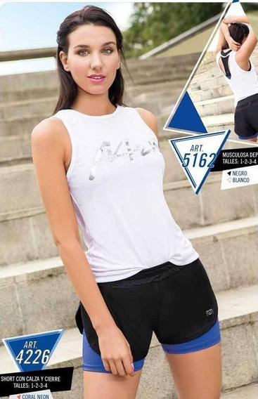 Conjunto Deportivo Mujer Short C/calza Y Musculosa Mozione