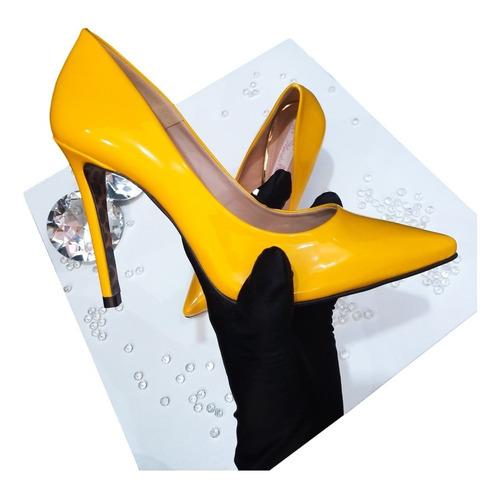 Imagem 1 de 5 de Sapato Scarpin Feminino Amarelo Salto Alto