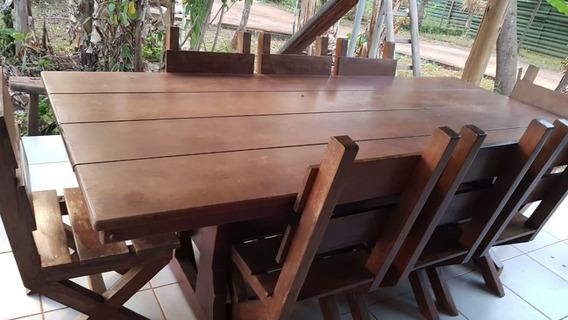 Mesa De Mogno Maciça Com 10 Cadeiras De Mogno