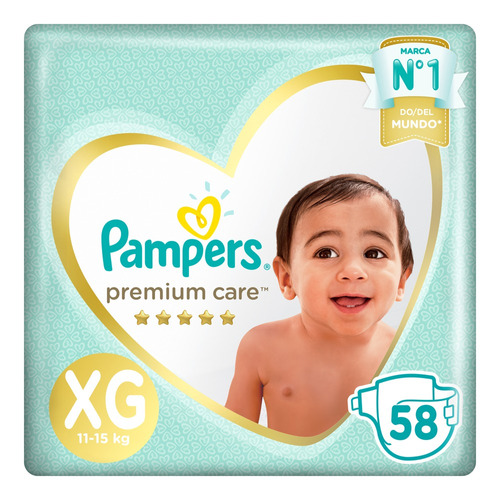 Pañales Pampers Premium Care  Xg 58 u