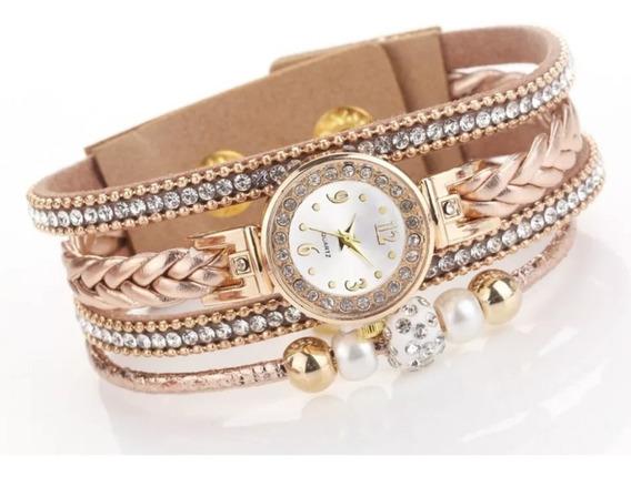 Relógio Feminino Bracelete Strass Pulseira Couro Dourado