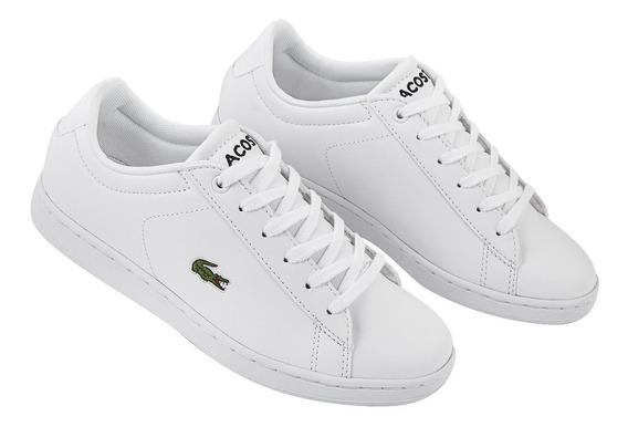Tenis Sneakers Lacoste Mujer Casual Urbano Blanco Comodos Or