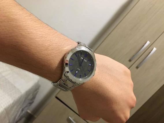 Relógio Seculus Pulseira Prata Azul Usado Bom Estado