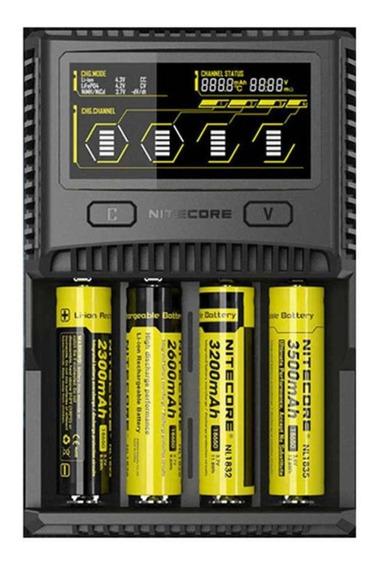 Carregador De Bateria Nitecore Sc4 18650, 26650, Rcr123