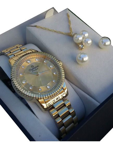 Relógio Feminino Champion Passion Dourado Cn29829e + Kit