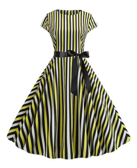 Vestido De Rayas Estampado Verano Vintage A-line