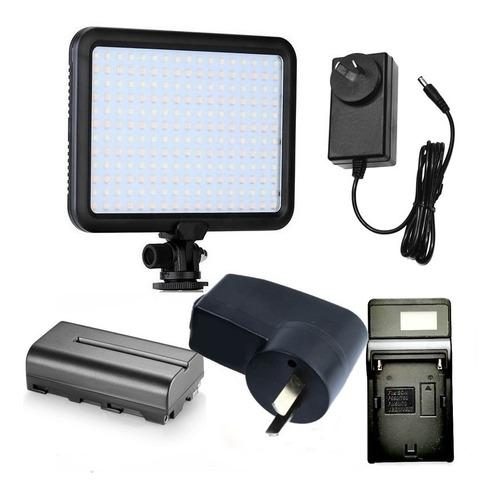 Iluminador Triopo 204 Led + Batería Np-f550 Cargador Fuente