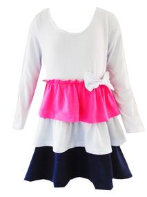 Vestido Viscolycra Babados Manga Longa Menina 8 Anos Ref5108