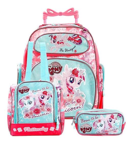 Mochila De Costa Menina Escolar My Little Pony Kit 3 Peças