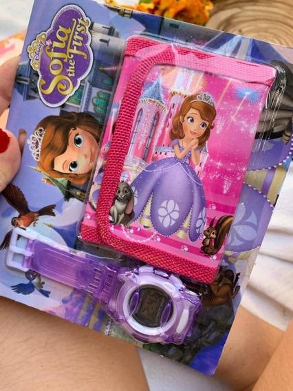 Relógio Infantil + Carteira Sofia Princesa