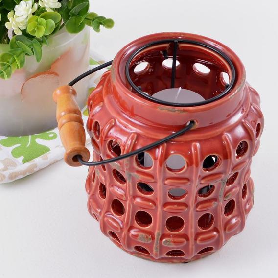 Luminária Para Vela Em Cerâmica Vazada Círculos Vermelha