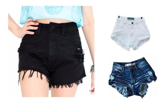 Kit 3 Shorts Jeans Legitimo Feminino Hot Pant Cintura Alta