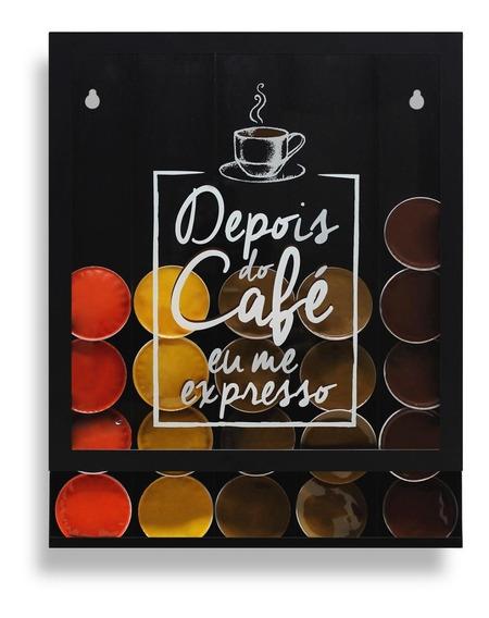 Quadro Porta Cápsulas Preto Depois Do Café Eu Me Expresso