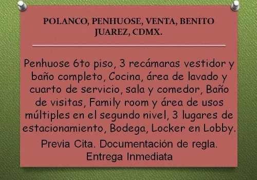 Napoles, Penhouse, Venta, Benito Juarez, Cdmx