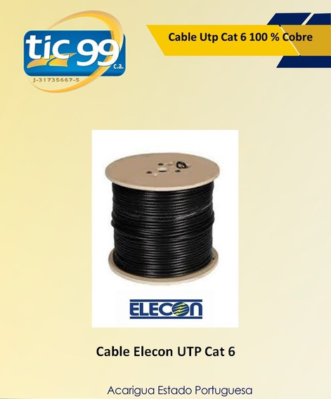 Cable Utp Cat 6 100 % Cobre Marca Elecon