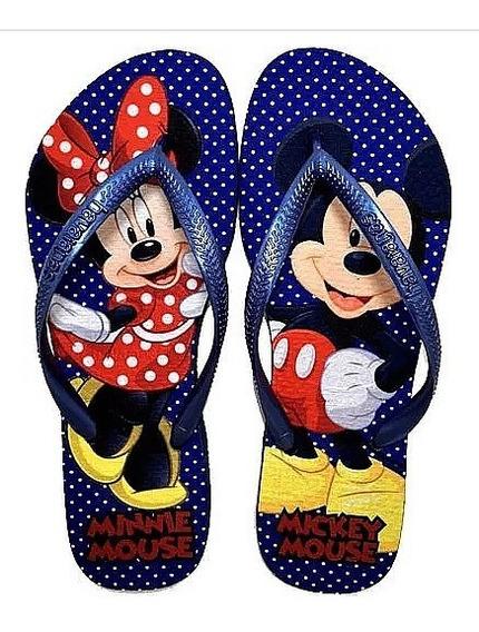 Chinelo Havaianas Slim Personalizado Mickey Minnie Azul