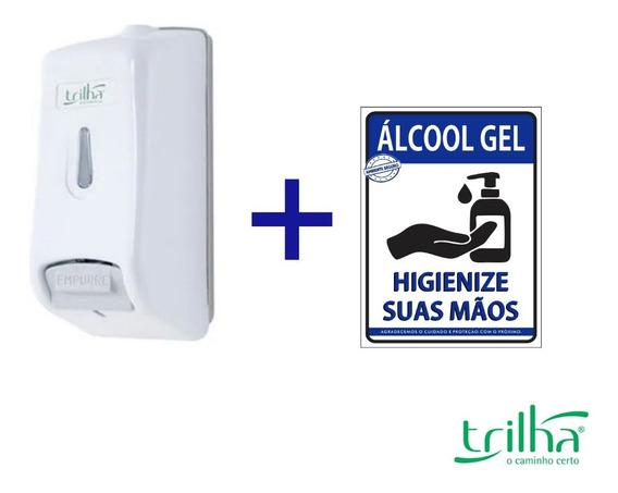 Dispenser Alcool Gel Sabonete Liquido Mãos + Adesivo Brinde