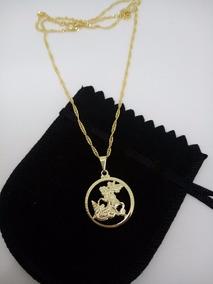 Pingente De São Jorge Com Colar 45cm Banhado A Ouro 18k