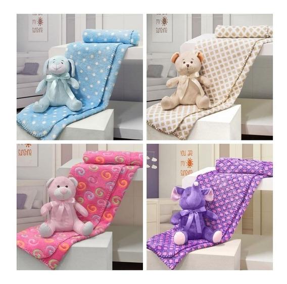 Enxoval De Bebê Kit Com 1 Manta/ Cobertor + 1 Pelúcia Barato