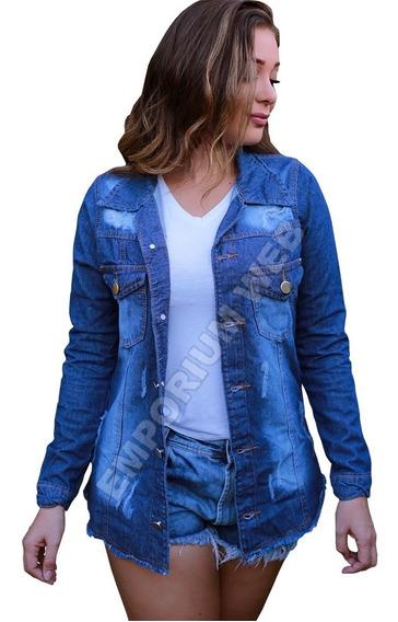Max Jaqueta Jeans Feminina Rasgada Moda Look Blogueira