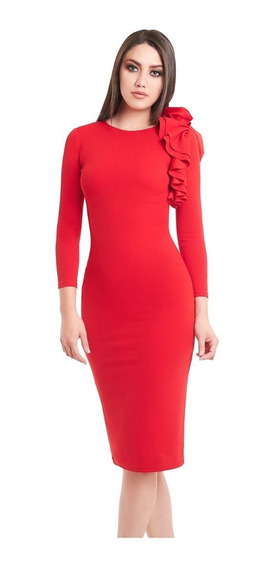 Vestido Tres Cuartos Rojo Con Flor En Hombro Denim Co.