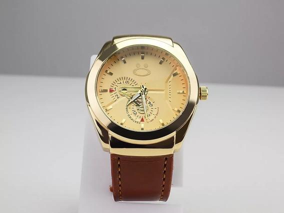 Relógio Masculino Original Couro Dourado Promoção Spaceman