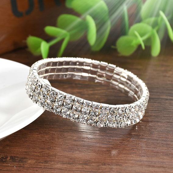 Pulseira Bracelete Com Strass (3 Fileiras De Pedras)
