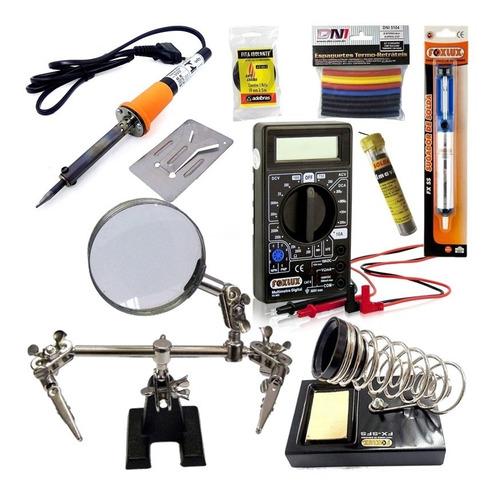 Kit Eletricista Ferramenta  Solda Reparos Lupa Multimetro K8