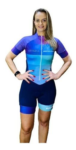 Macaquinho Ciclismo Feminino Deixe Ela Treinar Roxo Mc