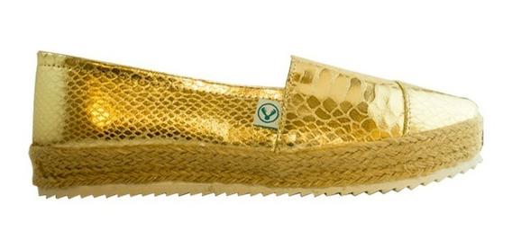 Zapato Plataforma Korvas Oro Ingles Mujer Dama Casual Yute