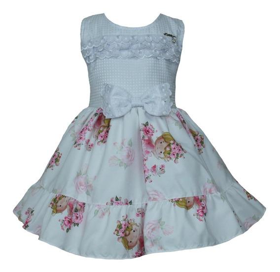 Vestido De Festa Infantil Estampa De Menina + Laço De Brinde