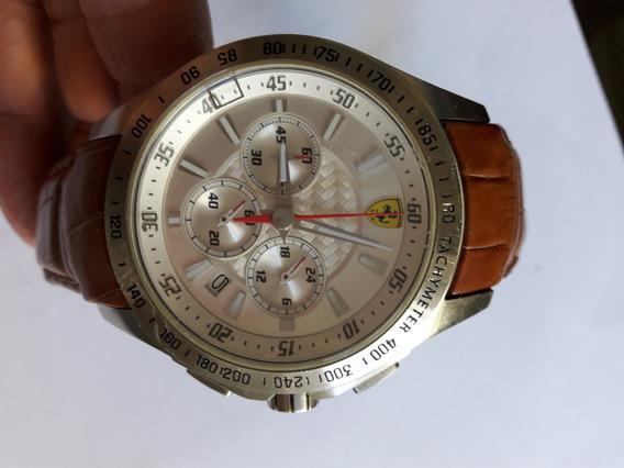 Relógio Ferrari (original) Com Pulseira De Couro.