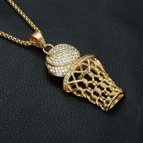 Colar Masculino Luxo Aço Dourado Jogo Cesta De Basquete 249