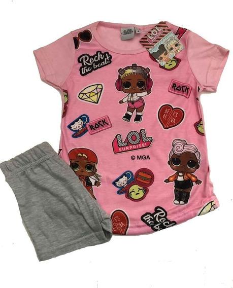 Pijama Lol Surprise L.o.l. Verano Rosa Y Gris Talles 4/10