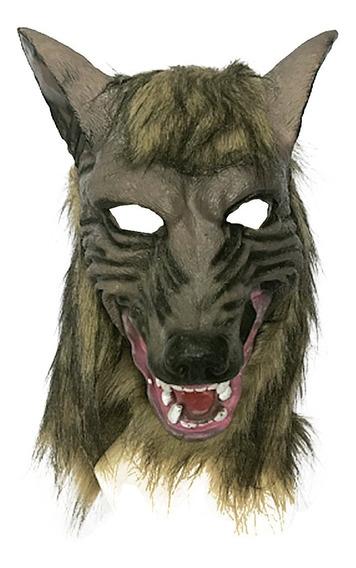 Máscara De Lobo Latex Con Pelo Cubre Toda La Cabeza