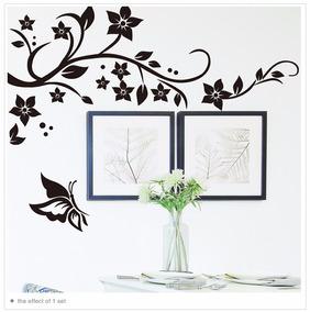 Adesivo Ramagens Flores Borboleta Para Quarto Sala Geladeira