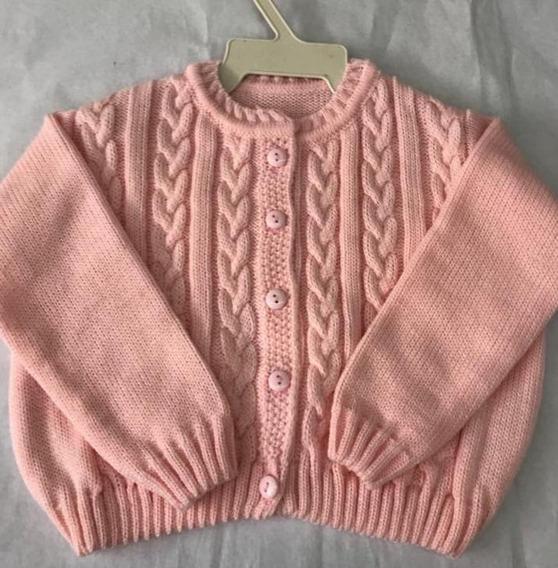 Cardigan De Lã Para Bebê Blusa C/botão De Trico Infantil