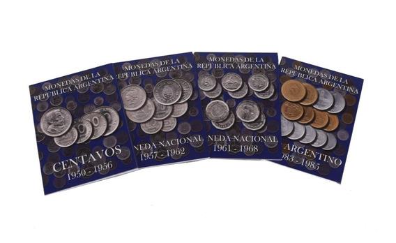 4 Albumes Para Monedas Argentinas Moneda Nacional San Martin Libertad Fragata Resero Peso Argentino