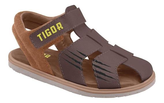 Sandália Tigor T. Tigre Fechada Menino Marrom