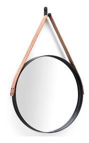 Espelho Adnet Couro Natural Preto Fosco 50cm