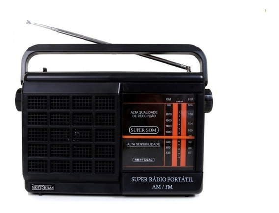 Radio Portatil Am Fm Motobras Bivolt 4pilhas Fone Ouvido