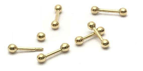 Piercing Ouro 18k Bolinha 6mm Cartilagem Tragus Orelha Hélix