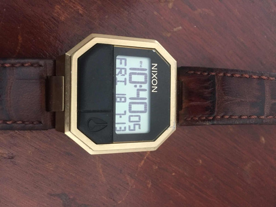 Nixon Re-run Leather Brown Croc A944 849 Usado Bom Estado