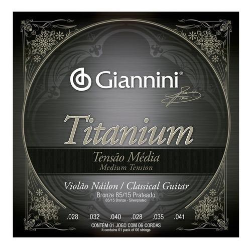 Encordoamento Gianinni Titanium Violão Nylon Tensão Média