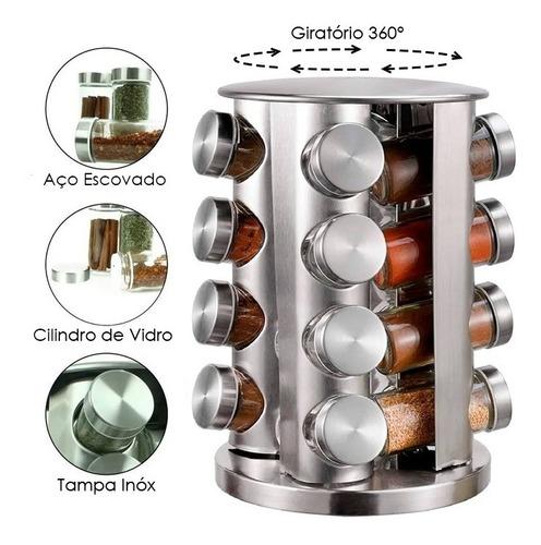 Imagem 1 de 10 de Porta Temperos E Condimentos Giratório 16 Peças De Aço E Vidro