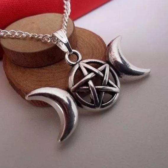 Colar Celta Triluna Deusa Tríplice Wicca Pentagrama