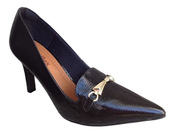 Sapato Scarpin Usaflex W0212 Couro Verniz Salto Alto 8cm
