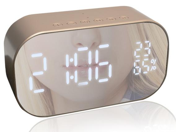 Caixa De Som Rádio Relógio Despertador Bluetooth Sd Dourado