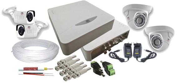 Kit Monitoramento Completo Para 4 Câmeras Em Hd